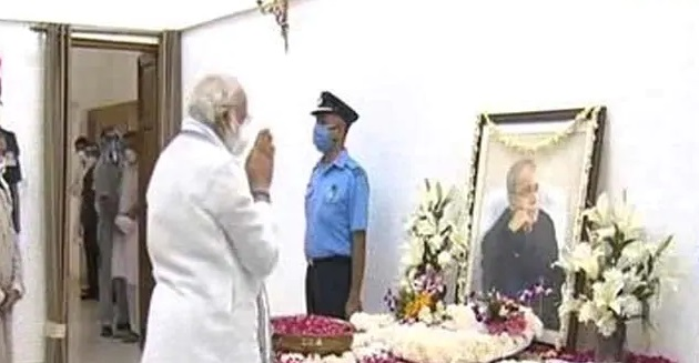 PM Modi's Last Respects to Pranab _ Malabar News