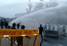 Chalo March; Police use of water cannon against farmers; Conflict