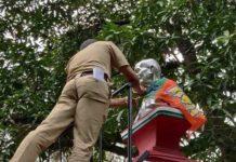 BJP-Flag-on-Gandhi-Statue