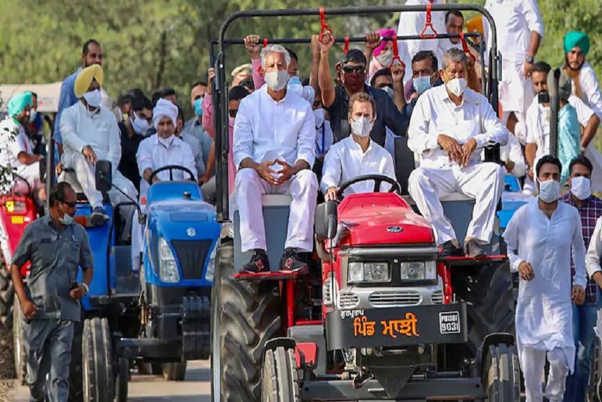 Rahul in tractor rally _ Representational image