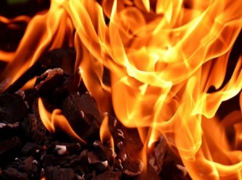 Fire breaks out