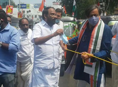 tharoor protest