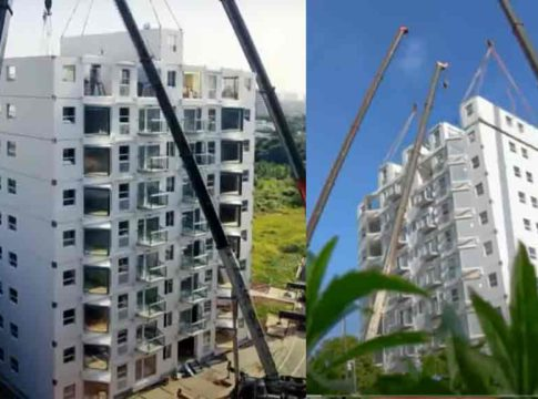 10 storey building in 28 hours !; This construction is amazing