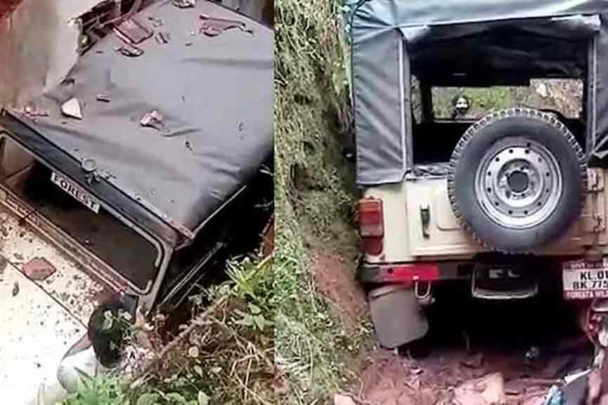 A jeep driven by Forest Department employees overturned on top of a house; 6 people were injured